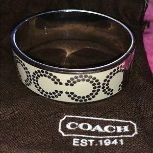 Coach silver and cream bangle bracelet